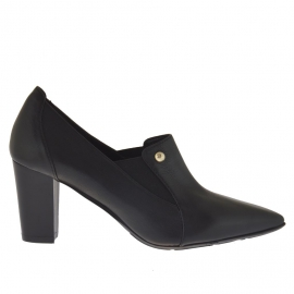 Scarpa accollata da donna con elastico in pelle nera tacco 7 - Misure disponibili: 42