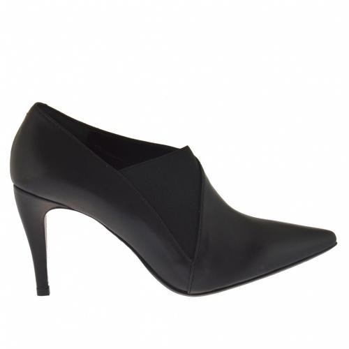 Cheville-haut escarpin pour femmes avec élastique en cuir noir talon 9 - Pointures disponibles:  42, 43