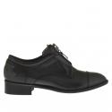 Chaussure pour femmes avec fermeture éclair en cuir gris talon 3