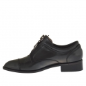 Woman's closed shoe with zipper in grey leather heel 3 - Available sizes:  46