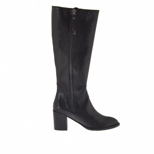 Bottes pour femmes avec deux fermetures éclair en cuir noir talon 7 - Pointures disponibles:  42