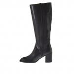 Femme bottes avec 2 fermetures éclair en cuir noir talon 7 - Pointures disponibles:  42