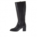 Woman's boot with 2 zippers in black leather heel 7