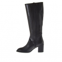 Woman's boot with two zippers in black leather heel 7 - Available sizes:  42
