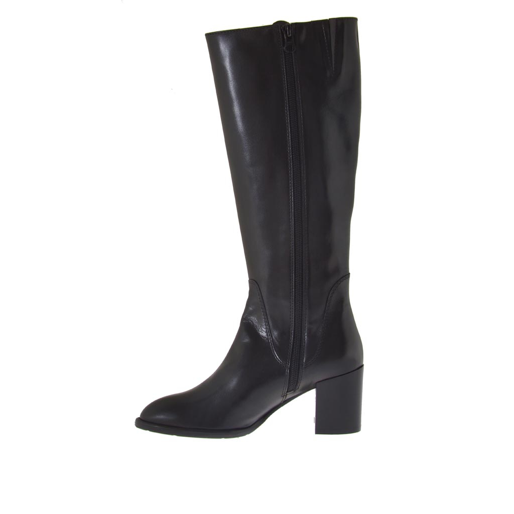 Woman S Boot With 2 Zippers In Black Leather Heel 7