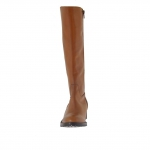 Woman's boot with zipper in tan-colored leather