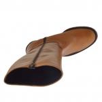Bottes avec fermeture éclair en cuir brun talon 3 - Pointures disponibles:  42