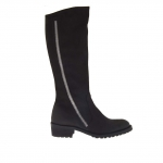 Women's boot with two zippers in black nubuck leather heel 3