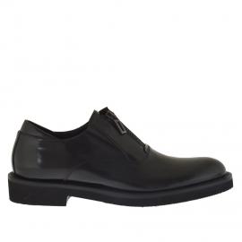 Scarpa da uomo accollata elegante  con cerniera in pelle nera - Misure disponibili: 36, 46, 47, 50