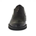 Men's high-ankle elegant shoe with zipper in black leather