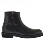 Cheville haut chaussure pour hommes avec fermeture éclair en cuir noir - Pointures disponibles:  46, 50