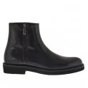 Cheville haut chaussure pour hommes avec fermeture éclair en cuir noir
