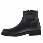 Cheville haut chaussure pour hommes avec fermeture éclair en cuir noir - Pointures disponibles:  46