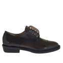 Chaussure pour femmes en cuir noir et marron talon 3