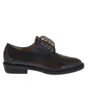Woman's shoe in brown and black leather heel 3 - Available sizes:  46