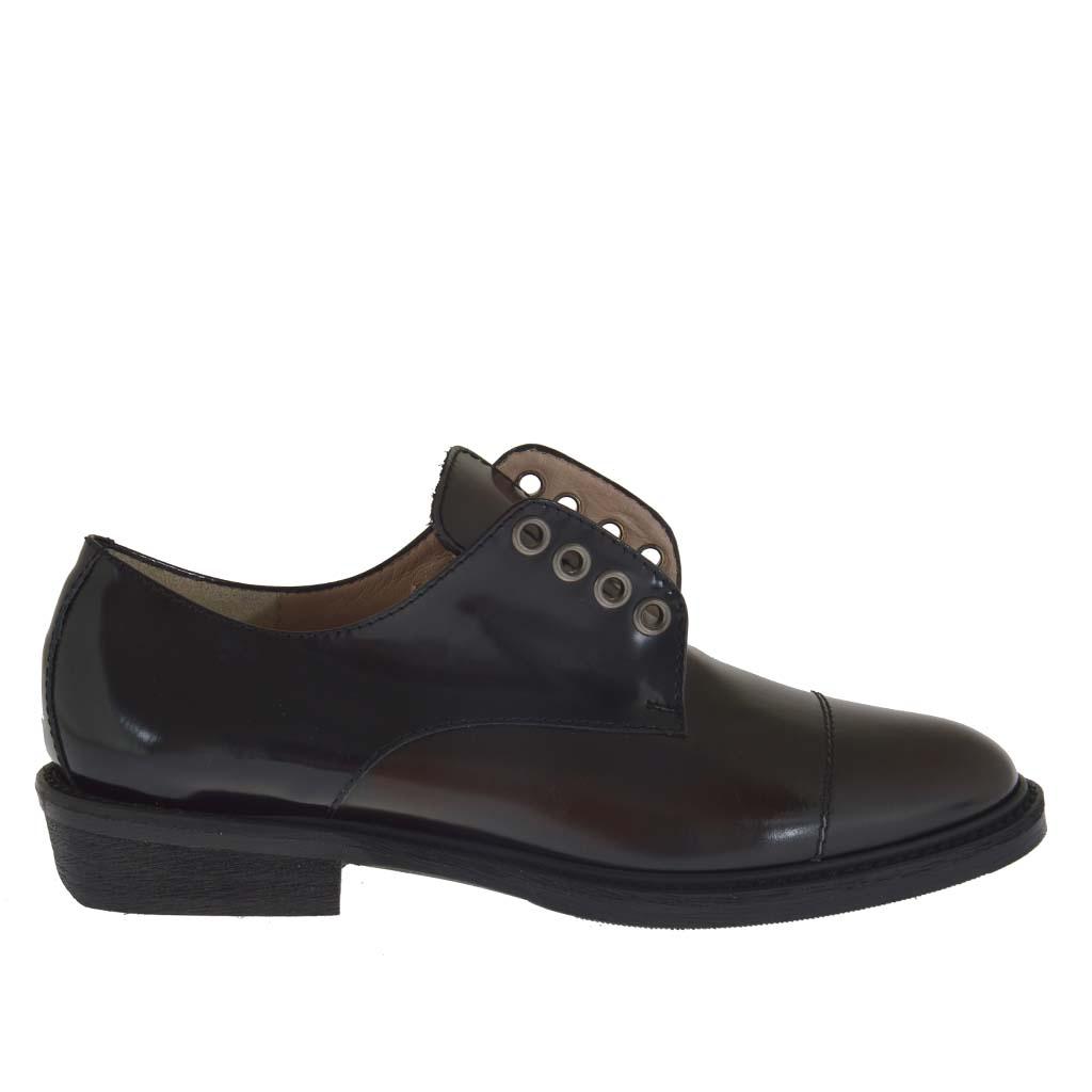 chaussure pour femmes en cuir noir et marron talon 3 ghigocalzature. Black Bedroom Furniture Sets. Home Design Ideas