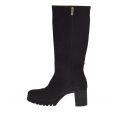 Woman's boot with zipper in black nubuck leather heel 7 - Available sizes:  42