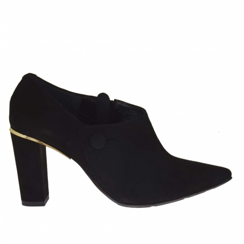 Talon-haut chaussure à bout pointu avec fermeture éclair en daim noir talon 8 - Pointures disponibles:  31