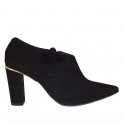 Women's pointy shoe with zipper in black suede heel 8