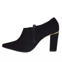 Women's pointy shoe with zipper in black suede heel 8 - Available sizes:  31