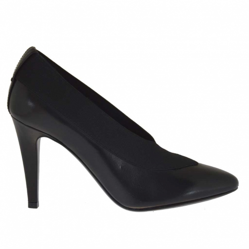 Woman ankle high pump with elastic in black leather and with heel 9 - Available sizes:  42, 43, 44