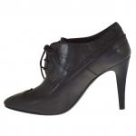 Femme elégante richelieu chaussure en cuir gris foncé avec talon 9 - Pointures disponibles:  42
