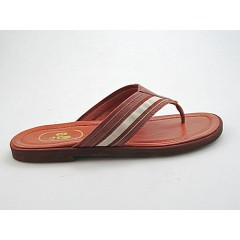Men's flip-flop in beige and tan-colored leather - Available sizes:  47