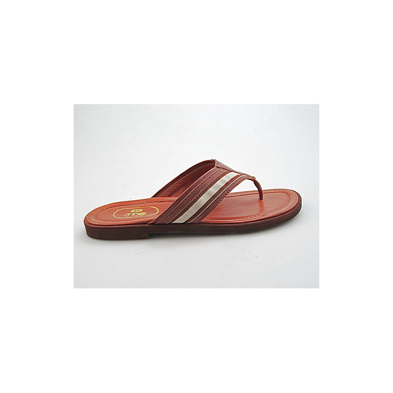 Flip flop in tan leather and beige - Available sizes: 47, 49
