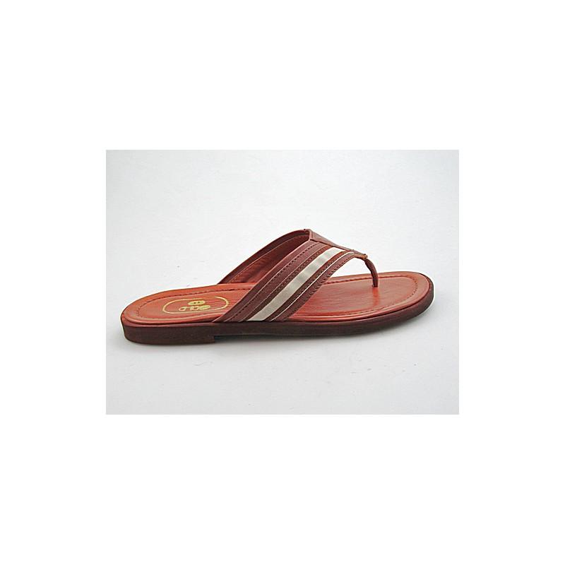Zehenpantolette für Herren aus beigem und hellbraunem Leder - Verfügbare Größen:  47