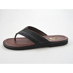 Men's flip-flop in black and grey leather - Available sizes:  47