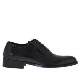Elegante zapato para hombre con cordones en charol de color negro - Tallas disponibles:  36, 37, 47, 48, 49, 50