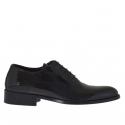 Chaussure élégante richelieu pour hommes avec lacets en cuir verni noir