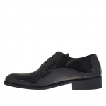Elégante homme chaussures avec lacets en cuir verni noir - Pointures disponibles:  36, 37, 47, 48, 49, 50