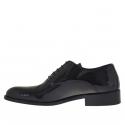 Chaussure élégante richelieu pour hommes avec lacets en cuir verni noir - Pointures disponibles:  36, 37, 47, 48, 50