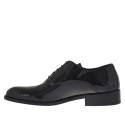 Elegant men's oxford shoes with laces in black patent leather - Available sizes:  36, 37, 47, 48, 50