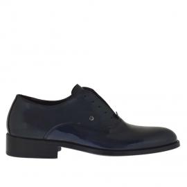 Elegante zapato para hombre con cordones opcionales en piel y charol de color azul oscuro - Tallas disponibles: 48, 50