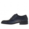 Elegant men's shoes with optional laces in dark blueleather and patent leather - Available sizes:  48, 50