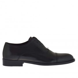 Elegant men's shoes with optional laces in black leather - Available sizes: 50
