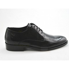 Men's laced elegant derby shoe in black leather - Available sizes:  50