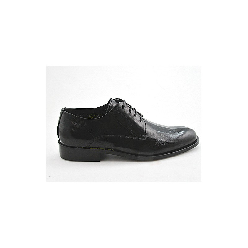 Laceup shoe in black eel  leather - Available sizes:  50