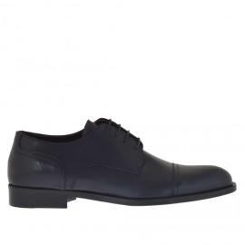 Elegante zapato para hombre con cordones en piel azul oscuro - Tallas disponibles: 48
