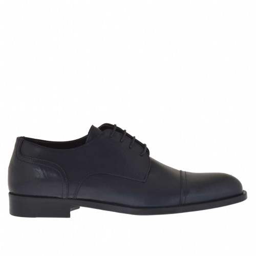 Elegant men's shoes with laces in dark blue leather - Available sizes:  48