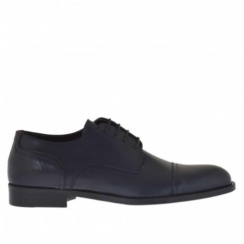 Elégant chaussure pour homme avec lacets en cuir bleu foncé - Pointures disponibles:  48