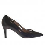 Escarpin pour femme en cuir noir perforé talon 7 - Pointures disponibles:  31, 47