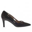 Pump shoe for women in black perforated  leather heel 7