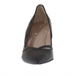 Pump shoe for women in black perforated  leather heel 7 - Available sizes:  31, 47