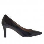 Escarpin pour femmes en cuir verni noir talon 7 - Pointures disponibles:  31