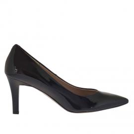 Scarpa da donna decoltè in pelle verniciata colore nero tacco 7 - Misure disponibili: 31