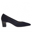 Woman's pump in blue elastic fabric heel 5