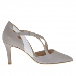 Woman's pump with crossed straps in white, grey and printed grey leather heel 7